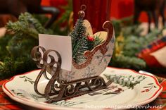 Dashing Through the Snow tablescape: using an ornament as a placecard holder