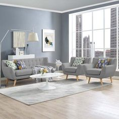 chairs - Modway Remark 3 Piece Living Room Set, Multiple Colors Walmart com 3 Piece Living Room Set, Living Room Paint, Living Room Grey, Living Room Sets, Home Living Room, Living Room Furniture, Living Room Designs, Modern Furniture, Antique Furniture