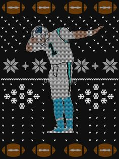 """""""Cam Newton Dab Ugly Christmas"""" Women's Fitted V-Neck T-Shirts by betsycrump 