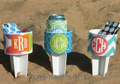 THREE Monogrammed Beach Drink Holders Sand Spiker with Vinyl Wrap Personalization via Etsy