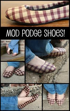 Found a pair of comfy but ugly shoes? Give them a makeover with a bit of Mod Podge and some fabric! It's super easy to do and takes less than an hour!