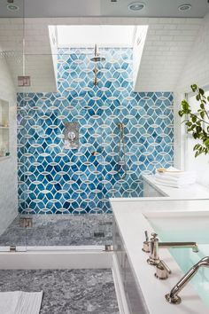 Kitchen Backsplash Sky Blue Glass Subway Tile Modwalls Lush 3x6 Modern Bathroom Photos Hgtv Patterned Accent Wall In Spacious Door Shower With White Walls And Gray Marble kitchen backsplash Patterned Tile Backsplash