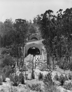 The Figueroa Street tunnels under construction, 1930. These tunnels now house the northbound lanes of the Arroyo Parkway.