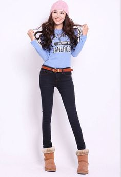 Korean Fashion Mid Waisted Tapered Denim Pant - BuyTrends.com