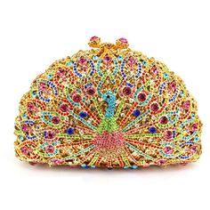 Luxury Crystal Evening Bag Peacock Clutch Diamond Party Purse Pochette Soiree Women_17     https://www.lacekingdom.com/