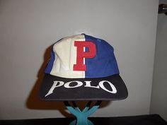 RARE Vintage Ralph lauren POLO Sport P Spellout Flag RL67 Star Hat pwing crest