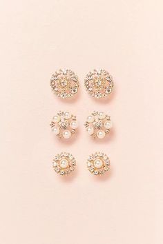Product Name:Rhinestone & Faux Pearl Stud Earring Set, Category:ACC, Price:6.9