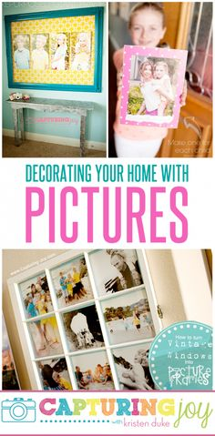 Decorating Your Home With Pictures Of Your Family.  I love how simple these ideas are and SO cute.  Time to get some pictures up on the walls!