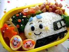 Fun face Bento. I have seen the little punches to make these faces and pieces; so cute! #Bento