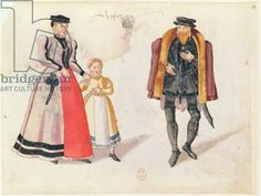 Citizens of Leipzig, 1572 (colour engraving)