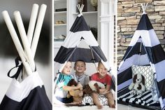 Spark your child's imagination with this fun black and white rugby stripe teepee. This durable playhouse is great for hours of indoor and outdoor fun!  These make great gift ideas for kids! Available at pickyourplum.com for 79% off!