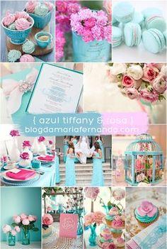 Decoração de Casamento : Paleta de Cores Azul Tiffany e Rosa   http://blogdamariafernanda.com/decoracao-de-casamento-paleta-de-cores-azul-tiffany-e-rosa