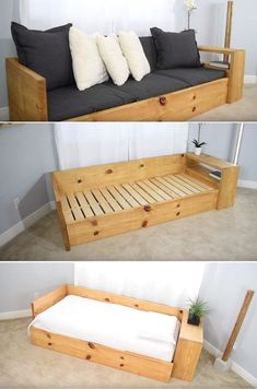 10 Easy Ways To Build A DIY Couch Without Breaking The Bank 10 façons faciles de construire un canapé bricolage sans se ruiner Diy Sofa, Diy Daybed, Diy Furniture Couch, Diy Outdoor Furniture, Furniture Projects, Furniture Plans, Furniture Makeover, Refurbished Furniture, Wooden Furniture