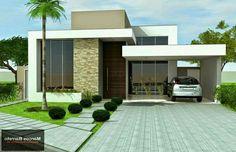Fachada Modern Bungalow House, Duplex House, Unique House Design, House Front Design, Luxury Homes Dream Houses, Dream House Interior, Architect Design House, Single Storey House Plans, Best House Plans