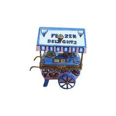 Limoges Trinket Box Ice Cream Cart Signed  D Peint Main