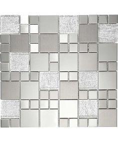 Metallic Random Silver Mix Mosaic Tile | Topps Tiles Grace Home, Topps Tiles, Underfloor Heating, Wet Rooms, Porcelain Tile, Mosaic Tiles, Metallic, Refurbishment, Ceramics