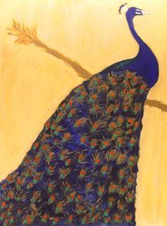 """Saatchi Online Artist Sandra Jones; Painting, """"Resting Peacock"""" #art"""