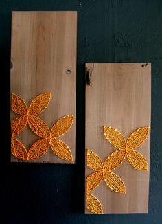 Modern String Art Wooden Tablet - Set of 2 - Yellow Circular Geometric on Distressed Grey. $55.00, via Etsy.