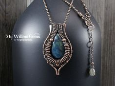 On Sale Wire Wrapped Blue Vivianite Necklace от MyWillowGems