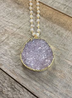 Glittering, natural jasper quartz druzy pendant hangs gracefully on a handmade 32 long moonstone gemstone chain.