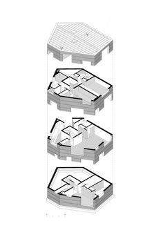 Fosc House / Pezo von Ellrichshausen Architects _ isometric drawing