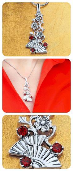 Pendant Necklace | 925 Sterling Silver & Natural Garnet Gemstone