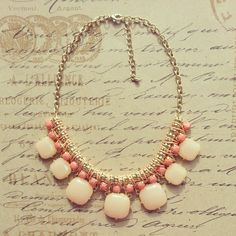 Peach Kate Spade Inspired Statement Necklace, Bib Necklace, Bubble Bib, Bridesmaid Gift, Bridal Jewelry, Gift. $25.00, via Etsy.