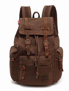 KINGLAKE Vintage Unisex Canvas Leather Backpack Rucksack Satchel Hiking Bag  Shoolbag Book bag Travel Backpack, 965a312c43
