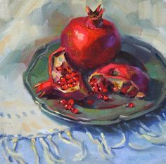 Over the past couple of years, I've enjoyed painting in a square format. Muse Kunst, Pomegranate Art, Jesus Painting, Still Life Fruit, Fruit Painting, Muse Art, Fruit Art, Acrylic Painting Canvas, Portrait Art
