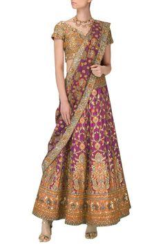 db2e4d6da7a4b8 EKAYA Purple and Multi-Coloured Banarasi Handwoven Embroidered Lehenga Set  #ekaya #purple #