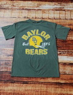 b16e137a333 Cheer on your Baylor Bears in this comfort colors moss green t-shirt! You