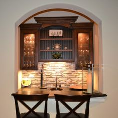 Wine Cellar Design Ideas, Pictures, Remodels And Decor   Staggered Cabinets  With Molding. Home Bar ...