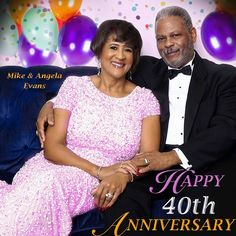Happy 40th Anniversary Michael & Angela Evans, the VP of Marketing and President of Crenshaw Christian Center and Ever Increasing Faith Ministries. May your wedding anniversary be Blessed and Cherished forever!!! ‪#‎mikenangie40th‬