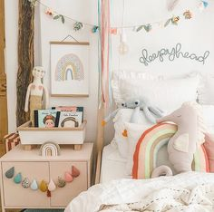Rainbow nursery and playroom decor ideas : Rainbow kids room decor with Ikea bed in wood and white cotton bed linen. Mermaid poster for girls - shades of pink decor ideas with under the sea theme Playroom Decor, Kids Decor, Nursery Decor, Decor Ideas, Home Decor, Rainbow Room Kids, Rainbow Nursery, Master Suite, Cosy Bed