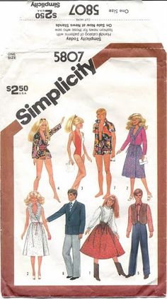 Simplicity 5807 Barbie Ken Doll Clothes Vintage by patternmania Sewing Barbie Clothes, Barbie Sewing Patterns, Sewing Dolls, Doll Clothes Patterns, Vintage Sewing Patterns, Doll Patterns, Clothing Patterns, Barbie Et Ken, Free Barbie