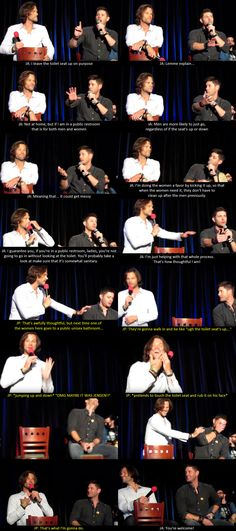 Jensen leaves the toilet seat up -- Supernatural Convention - DCCon 2015 - J2 Afternoon Panel -- jared jensen funny con moments