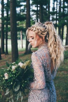 bohemian wedding, bride, fall wedding, wedding inspiration, grey wedding dress, boho bride, grooms attire, farm wedding, silver dress, blonde, wedding hair, fishtail, messy pony, ponytail, what to wear to a wedding, love, hippie wedding, wedding flowers, fern bouquet, crystal crown, wedding diy, victorian wedding dress, mermaid skirt gown, wedding ring, engagement ring, oval ring, wedding photography, wedding ceremony, cute, wedding ceremony, centerpieces, wedding decor, blushing bride