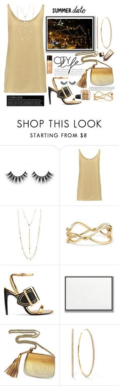 """Summer Date Night"" by terry-tlc ❤ liked on Polyvore featuring Iris & Ink, Natasha, David Yurman, Burberry, Gucci, MAC Cosmetics and Nude by Nature"