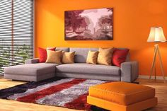 Things You Won't Like About Add Color To Your Living Room And Things You Will 4 - gameofthron Living Room Colors, Living Room Decor, Grey Couch Decor, Home Bedroom, Bedroom Decor, Orange Walls, Home Decor Kitchen, Interior Decorating, Apartments Decorating