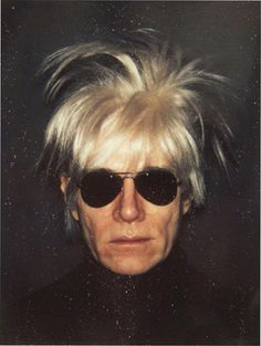 "Andy Warhol, Self-Portrait in Fright Wig, 1986 © The Andy Warhol Foundation for the Visual Arts, Inc. -- saw Warhol on the street a couple of times in the 80's and he was always wearing a version of these white ""fright"" wigs and all black... it was cool."
