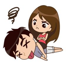 Cute, funny, lovely couple sticker for those who in love