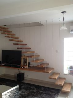 Stairs In Living Room, Tiny House Stairs, House Staircase, Living Room Shelves, Home Stairs Design, Interior Stairs, House Design, Flooring For Stairs, Stair Walls