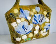 Nuno Felted Purse Bag Himalayan poppies by handmaderu on Etsy, $185.00