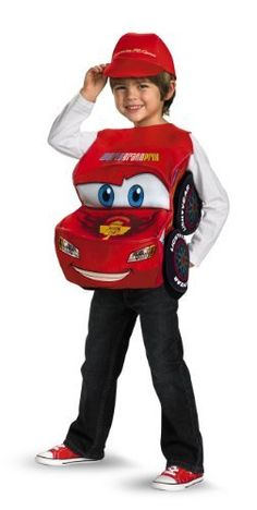 Lightning Mcqueen 3D Child Deluxe Costume by Disguise. $22.95. 3-Dimensional foam bodied costume with screen printed headlights and logo cap. One size fits up to age 6. Shirt and pants not included.