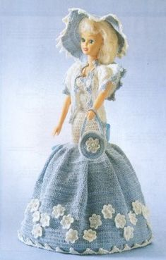 Blue and white dress for Miss Barbie ♥LCD♥ with diagram