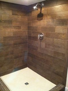Faux wood tile bathroom ideas ideas about wood tile shower on pintere Wood Tile Shower, Wood Bathroom, Simple Bathroom, Bathroom Flooring, Bathroom Ideas, Shower Ideas, Bathroom Showers, Shower Floor, Shower Base