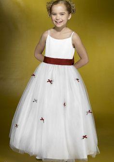 2015 Tulle Sleeveless White Ruched Spaghetti Straps Floor Length Flower Girl Dresses By Alexia FGD004