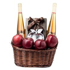 Rosh Hashanah Gift Basket | This elegant Rosh Hashanah Basket is the sweetest basket possible to send. Filled with fluted honeys, apples and honey biscotti .