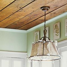 Cottage Charm: Metal-Frame Pendant    Give a vintage hanging light a whimsical redo by weaving burlap through the shade's wire frame and securing the fabric with cotton ties. Be sure to use a cool-burning CFL bulb.    Similar flea-market fixtures go for as little as $25. Burlap in assorted colors, $4 per yard; Joann