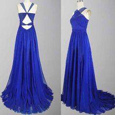 Outlet A-Line Floor Length Chiffon Sleeveless Royal Blue Long Prom Dresses (Outlet Prom Dress 60529)